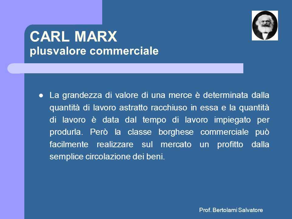 CARL MARX plusvalore commerciale