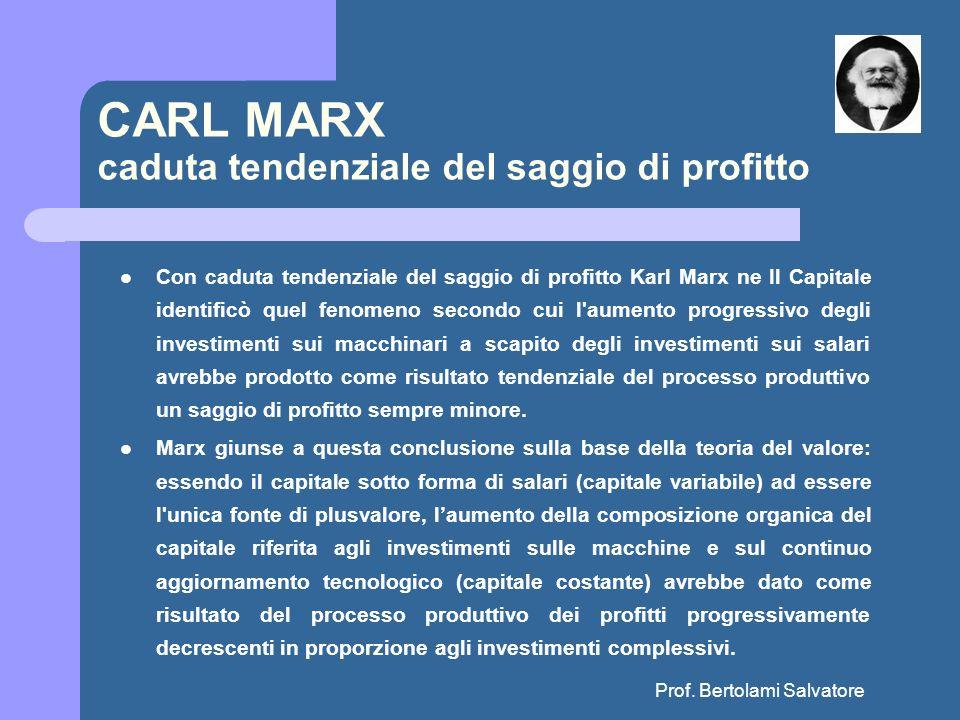 CARL MARX caduta tendenziale del saggio di profitto