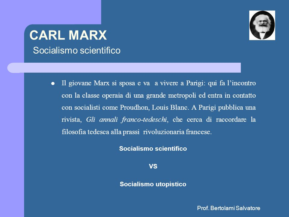 CARL MARX Socialismo scientifico