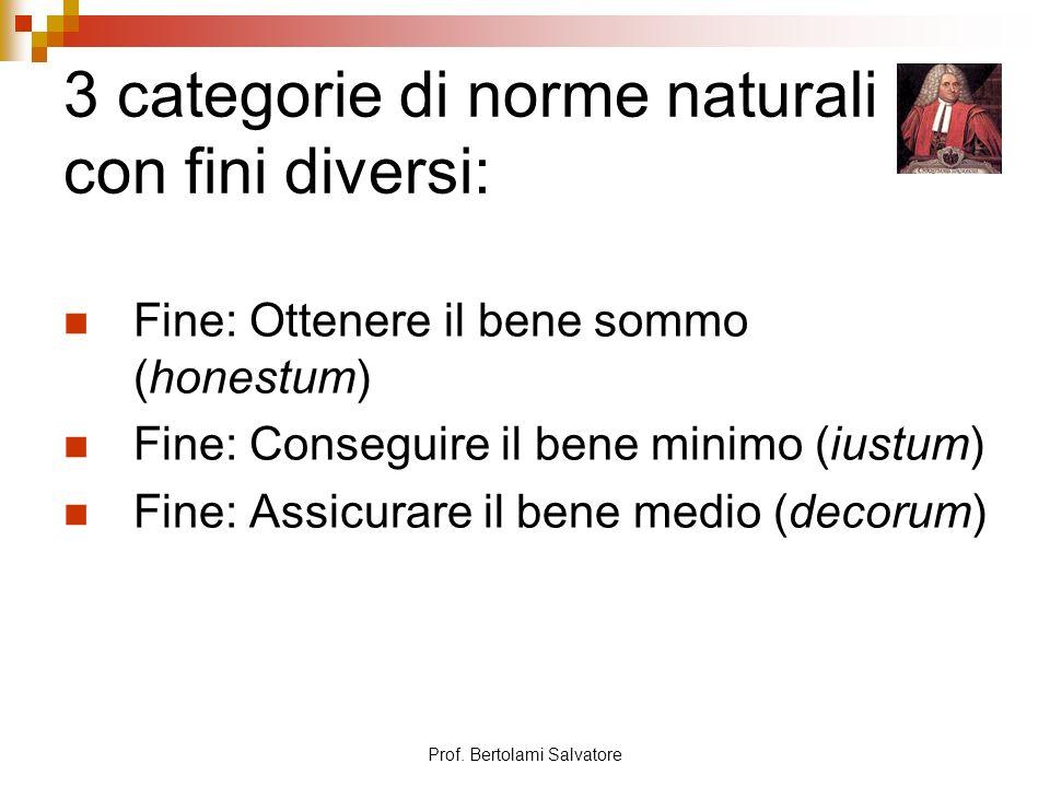3 categorie di norme naturali con fini diversi: