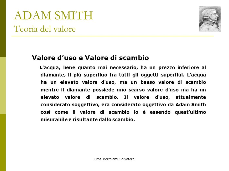 ADAM SMITH Teoria del valore