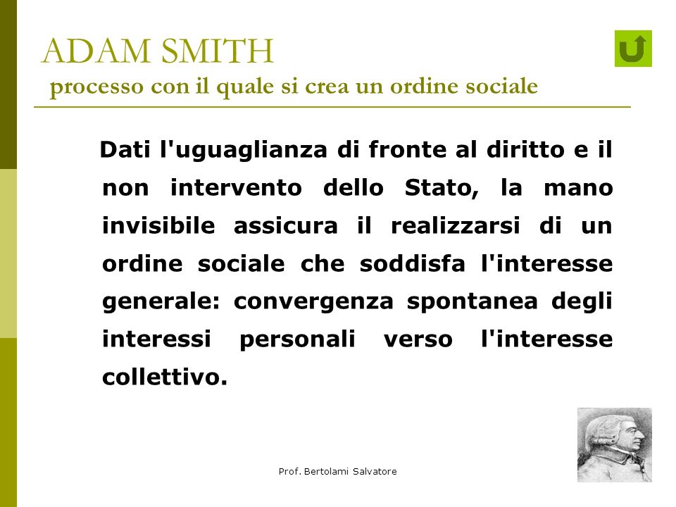 ADAM SMITH processo con il quale si crea un ordine sociale