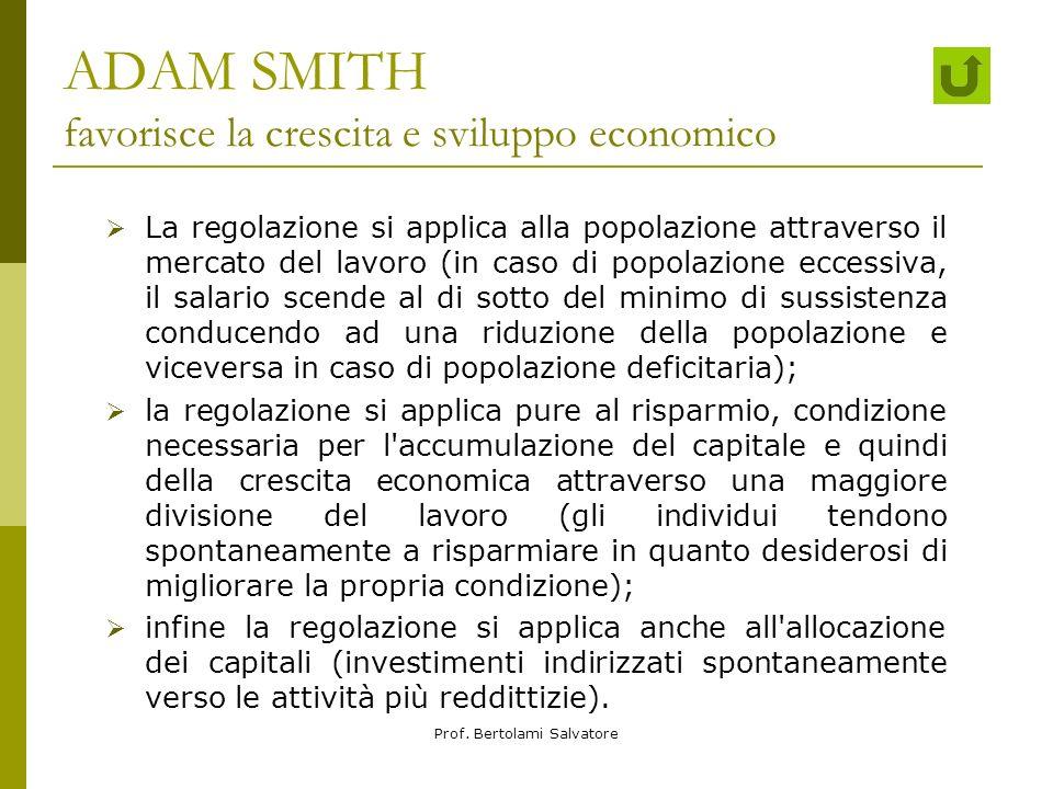 ADAM SMITH favorisce la crescita e sviluppo economico