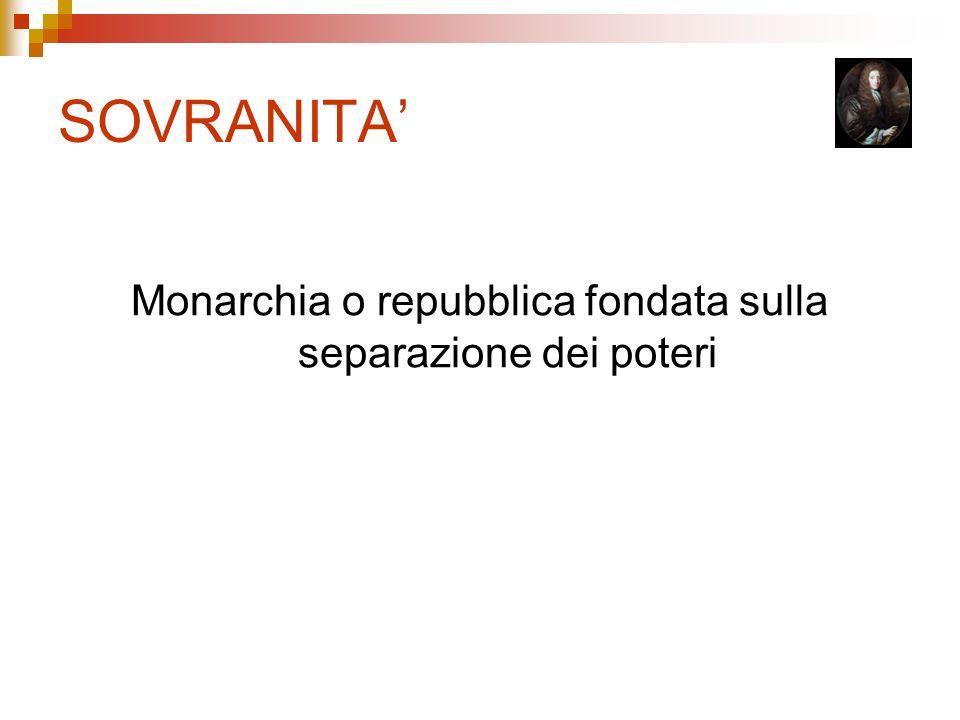 Monarchia o repubblica fondata sulla separazione dei poteri
