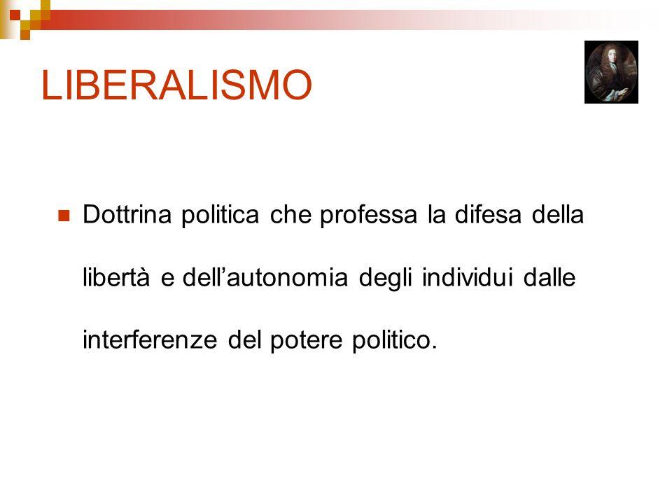 LIBERALISMO Dottrina politica che professa la difesa della libertà e dell'autonomia degli individui dalle interferenze del potere politico.