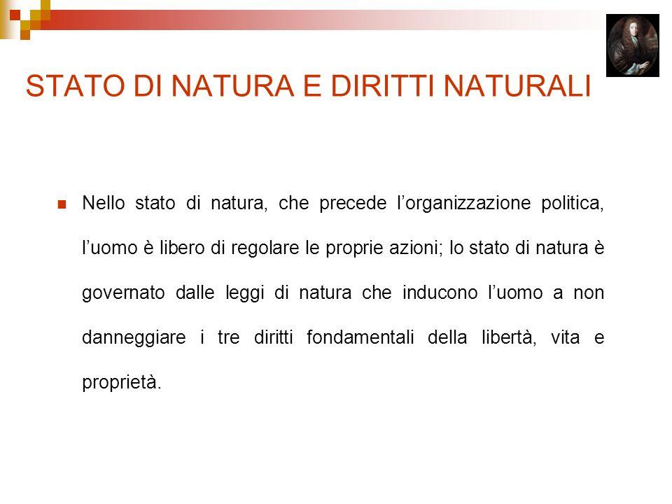 STATO DI NATURA E DIRITTI NATURALI