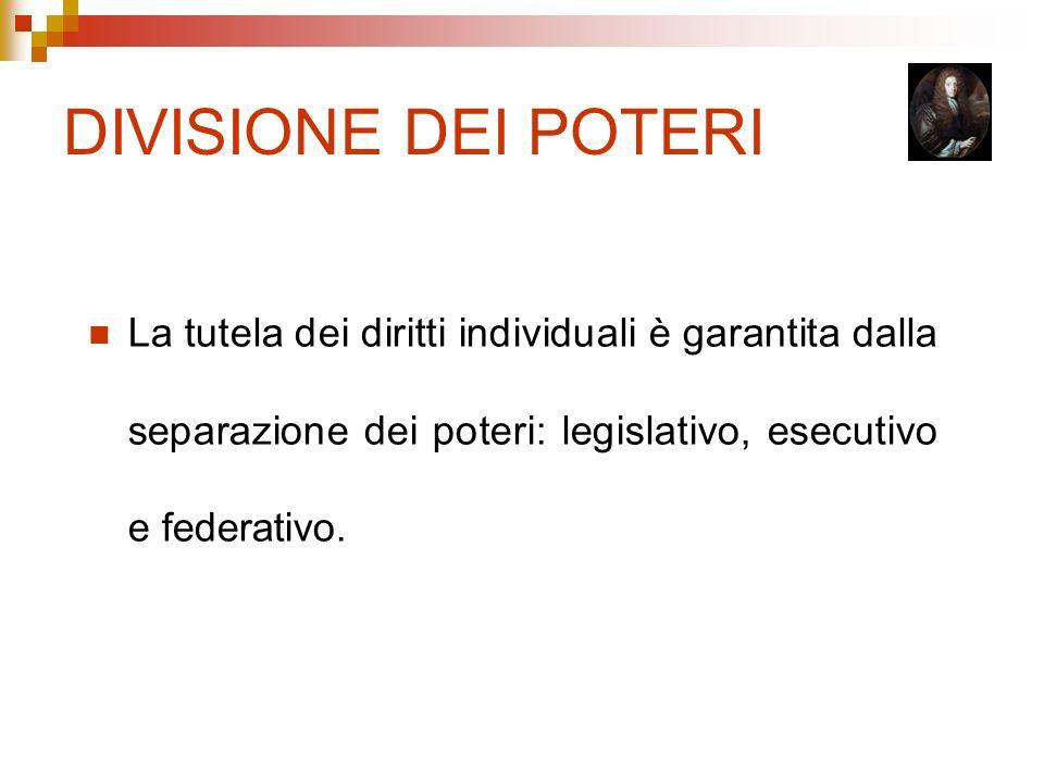 DIVISIONE DEI POTERILa tutela dei diritti individuali è garantita dalla separazione dei poteri: legislativo, esecutivo e federativo.