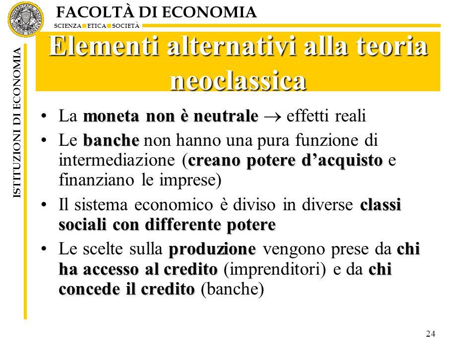 Elementi alternativi alla teoria neoclassica