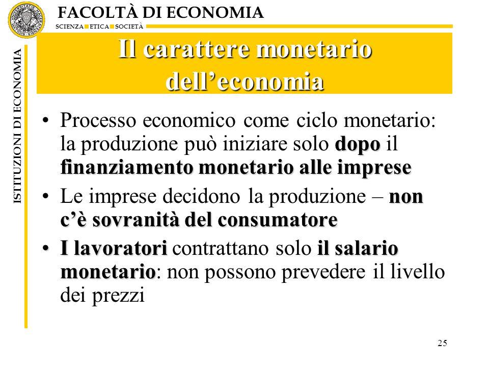 Il carattere monetario dell'economia