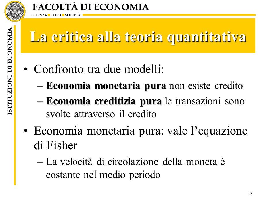 La critica alla teoria quantitativa