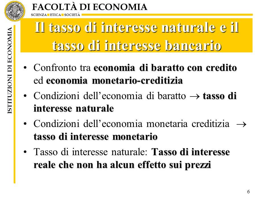 Il tasso di interesse naturale e il tasso di interesse bancario