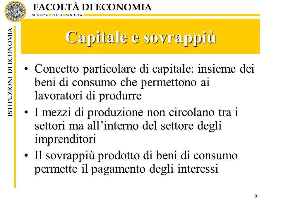 Capitale e sovrappiù Concetto particolare di capitale: insieme dei beni di consumo che permettono ai lavoratori di produrre.