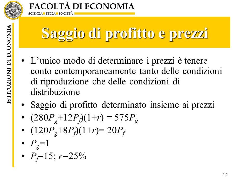Saggio di profitto e prezzi