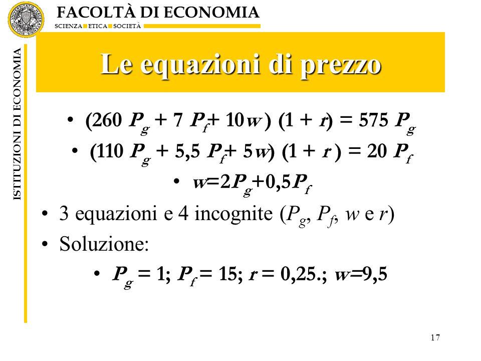 Le equazioni di prezzo (260 Pg + 7 Pf+ 10w ) (1 + r) = 575 Pg