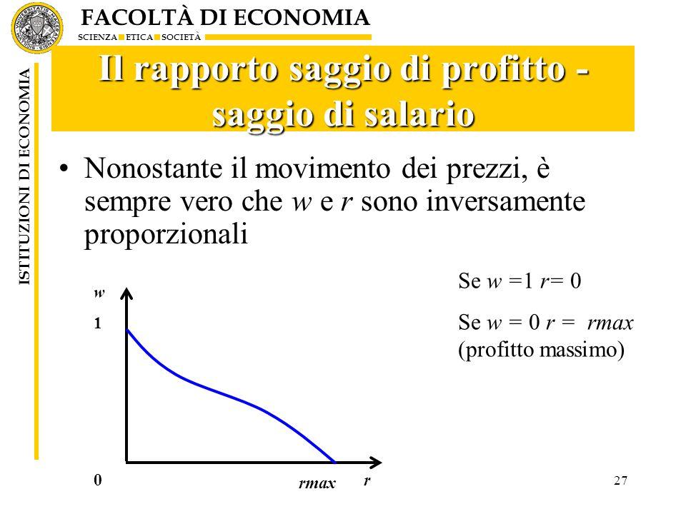 Il rapporto saggio di profitto - saggio di salario