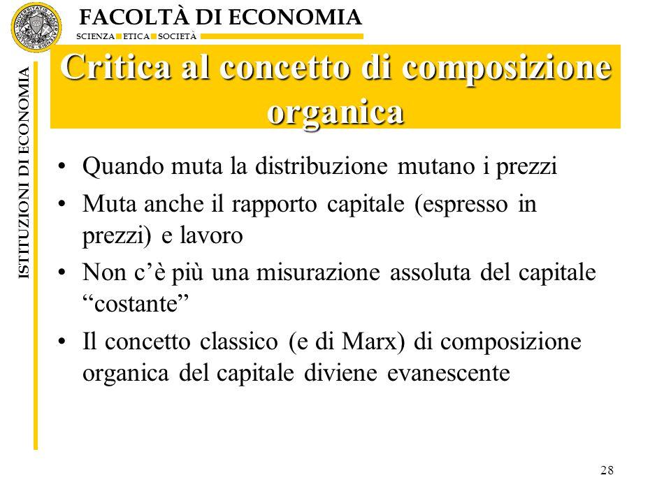 Critica al concetto di composizione organica
