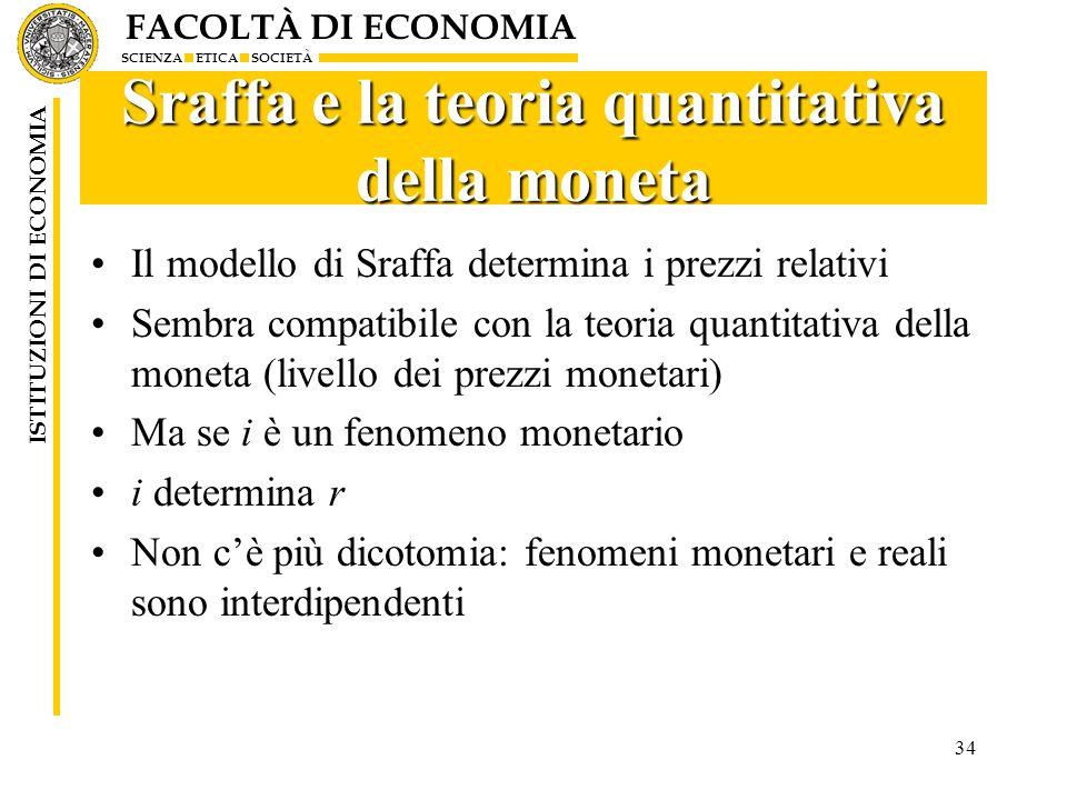 Sraffa e la teoria quantitativa della moneta