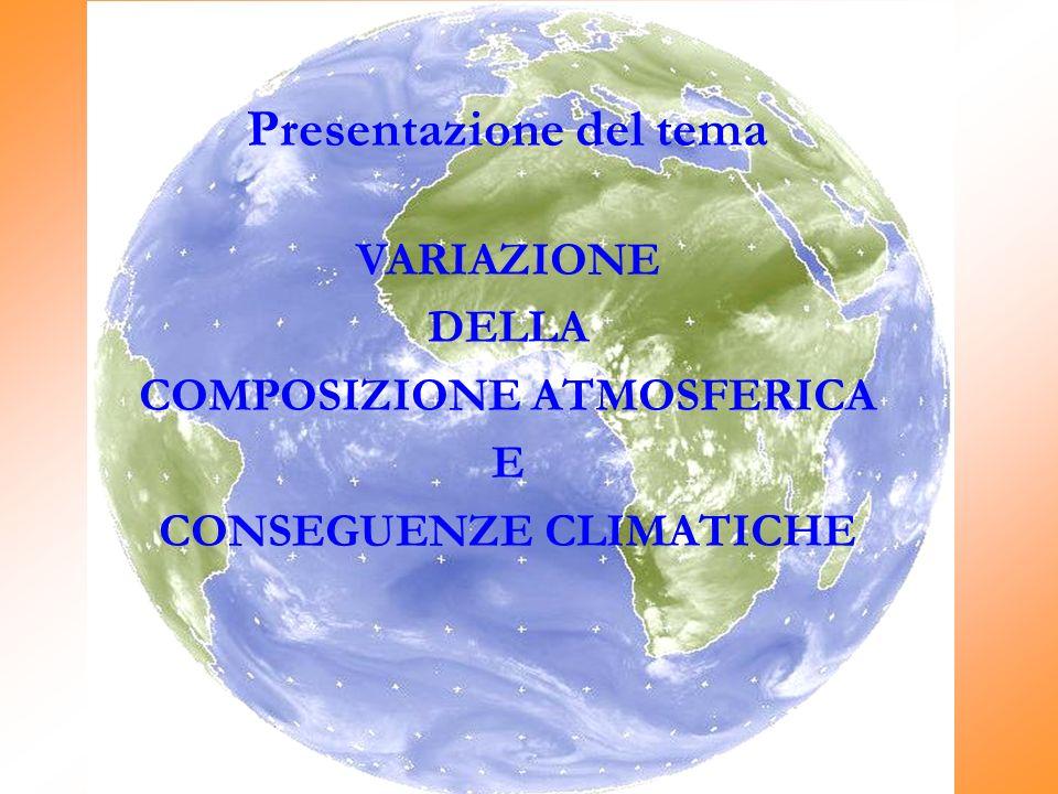 Presentazione del tema COMPOSIZIONE ATMOSFERICA CONSEGUENZE CLIMATICHE