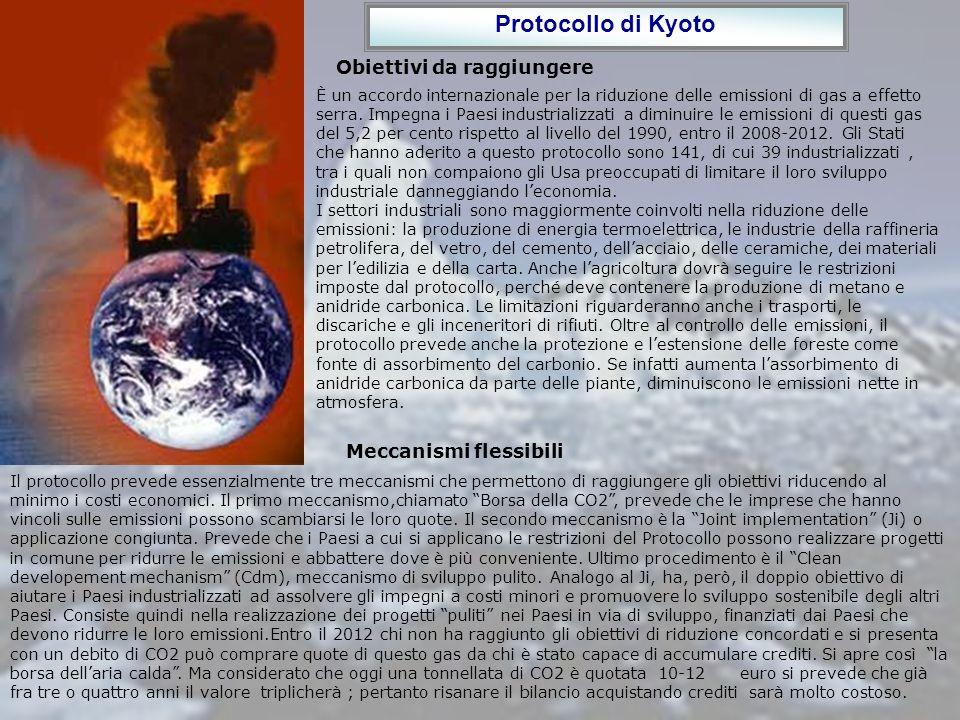 Protocollo di Kyoto Obiettivi da raggiungere Meccanismi flessibili