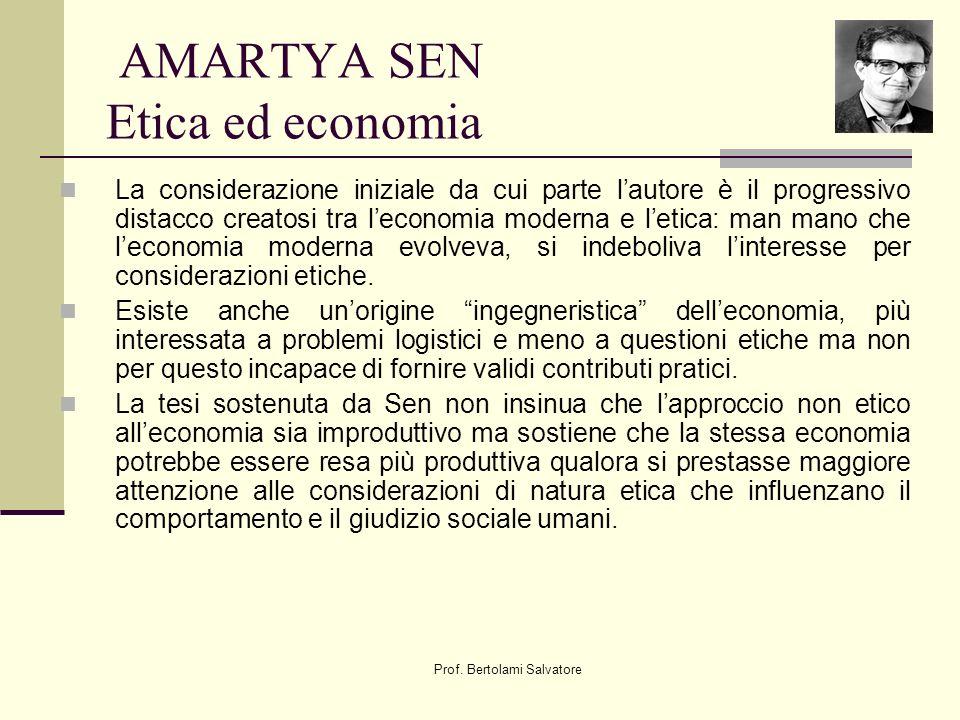 AMARTYA SEN Etica ed economia