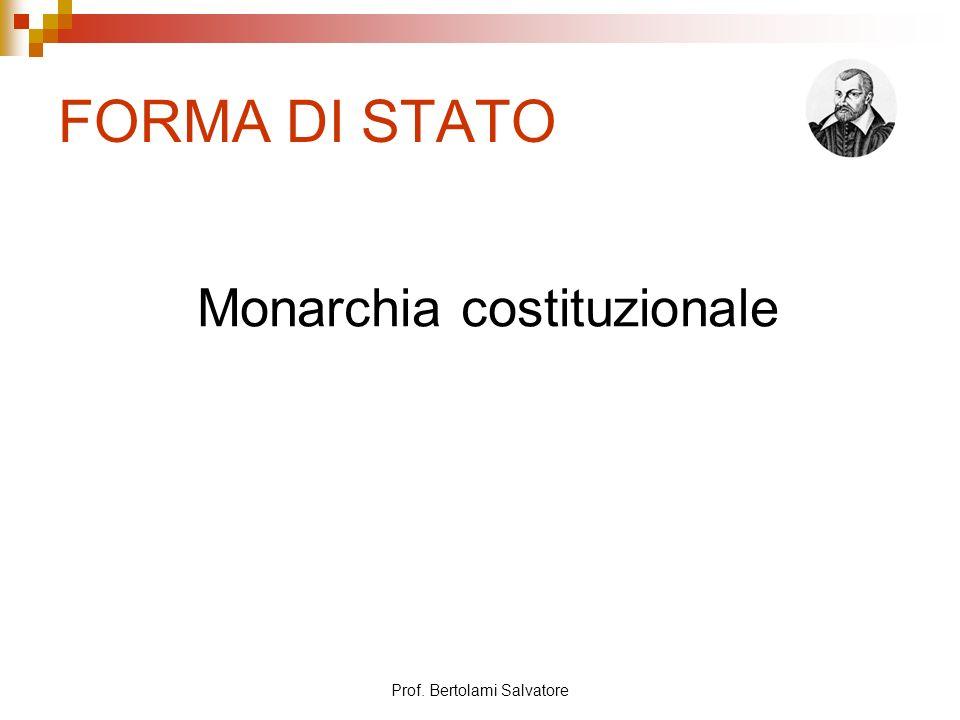 FORMA DI STATO Monarchia costituzionale Prof. Bertolami Salvatore
