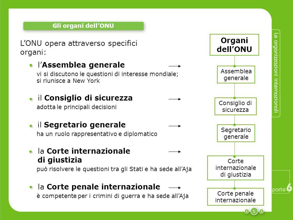 L'ONU opera attraverso specifici organi: