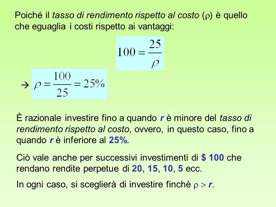 Poiché il tasso di rendimento rispetto al costo () è quello che eguaglia i costi rispetto ai vantaggi: