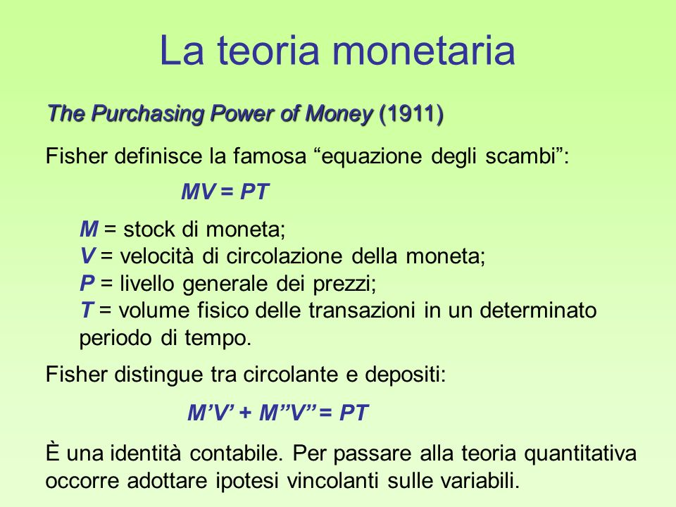 La teoria monetaria The Purchasing Power of Money (1911)