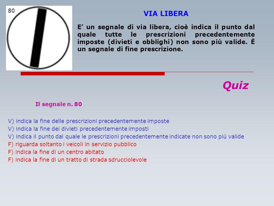 Il segnale n. 80 Quiz VIA LIBERA
