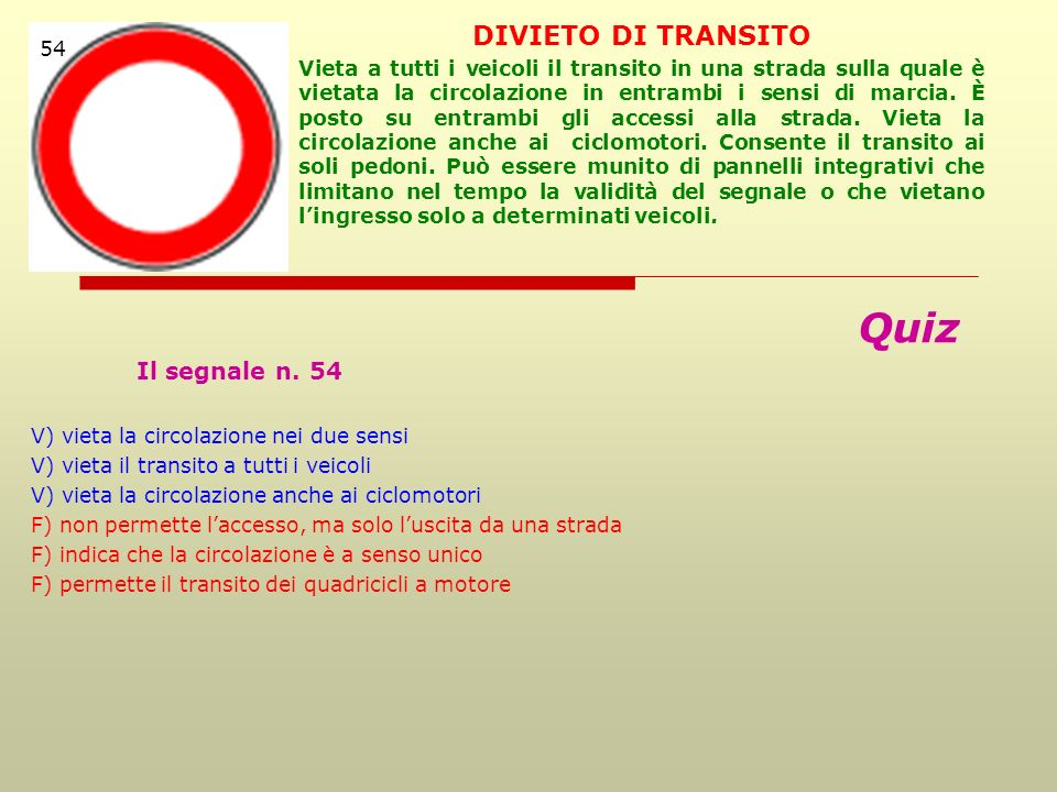 Quiz DIVIETO DI TRANSITO 54