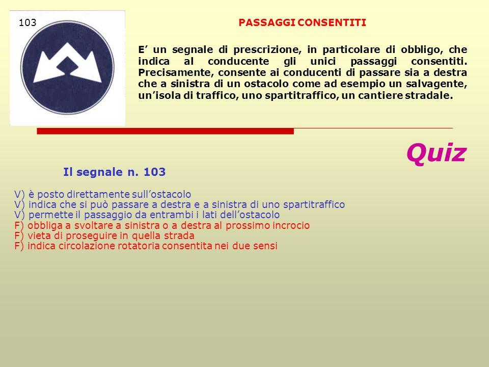 Quiz Il segnale n. 103 103 PASSAGGI CONSENTITI