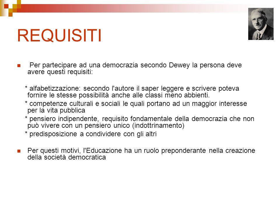 REQUISITI Per partecipare ad una democrazia secondo Dewey la persona deve avere questi requisiti: