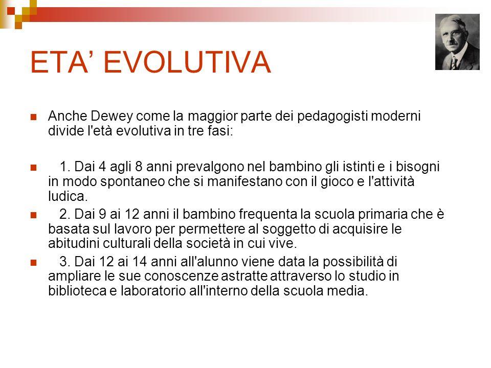 ETA' EVOLUTIVA Anche Dewey come la maggior parte dei pedagogisti moderni divide l età evolutiva in tre fasi: