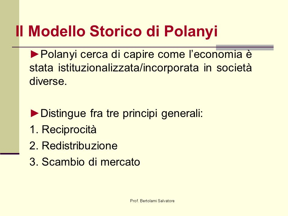 Il Modello Storico di Polanyi