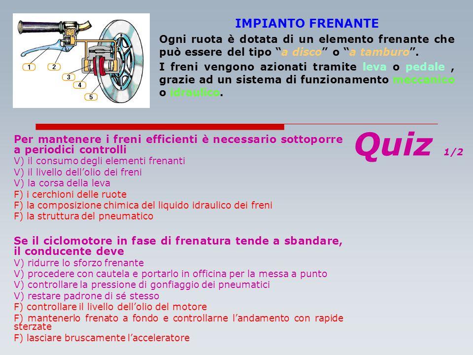 Quiz 1/2 IMPIANTO FRENANTE