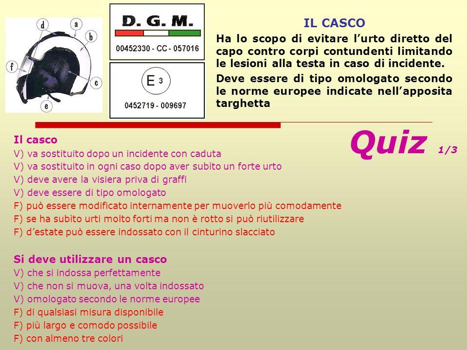 IL CASCO Ha lo scopo di evitare l'urto diretto del capo contro corpi contundenti limitando le lesioni alla testa in caso di incidente.