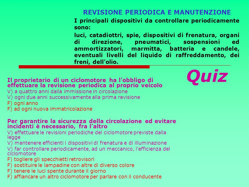 REVISIONE PERIODICA E MANUTENZIONE