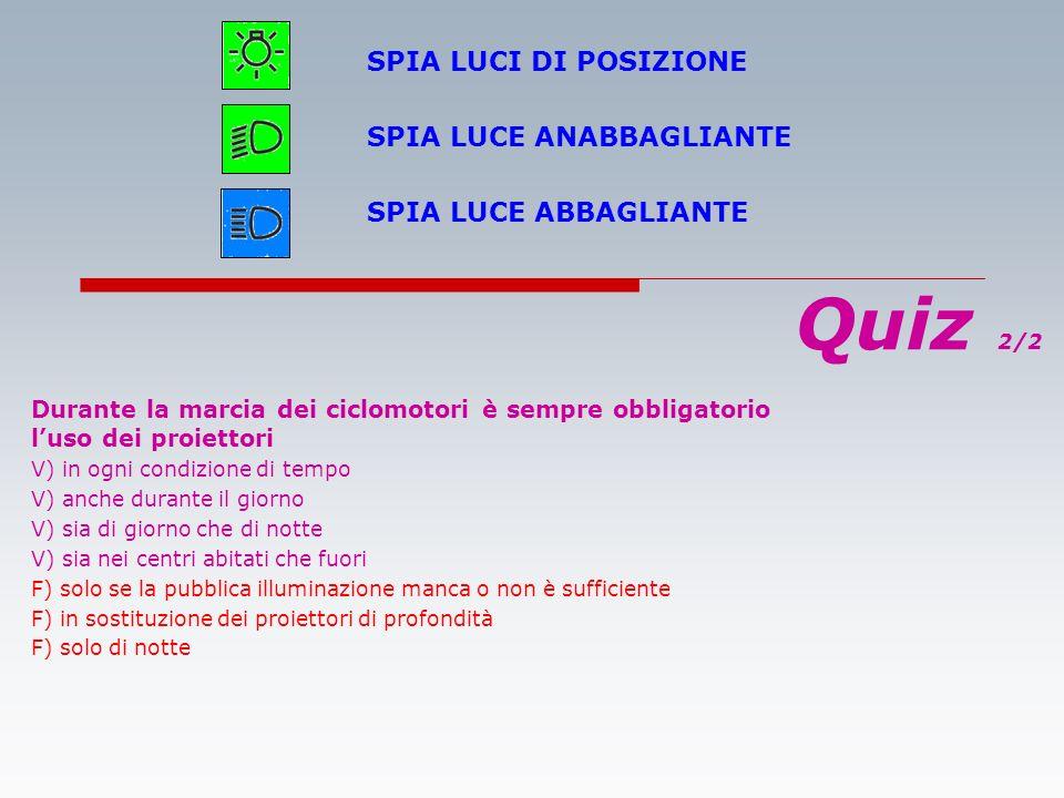 Quiz 2/2 SPIA LUCI DI POSIZIONE SPIA LUCE ANABBAGLIANTE