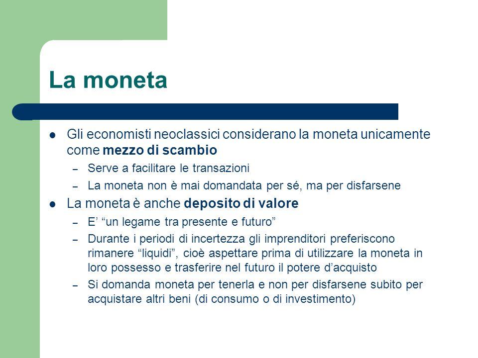 La monetaGli economisti neoclassici considerano la moneta unicamente come mezzo di scambio. Serve a facilitare le transazioni.