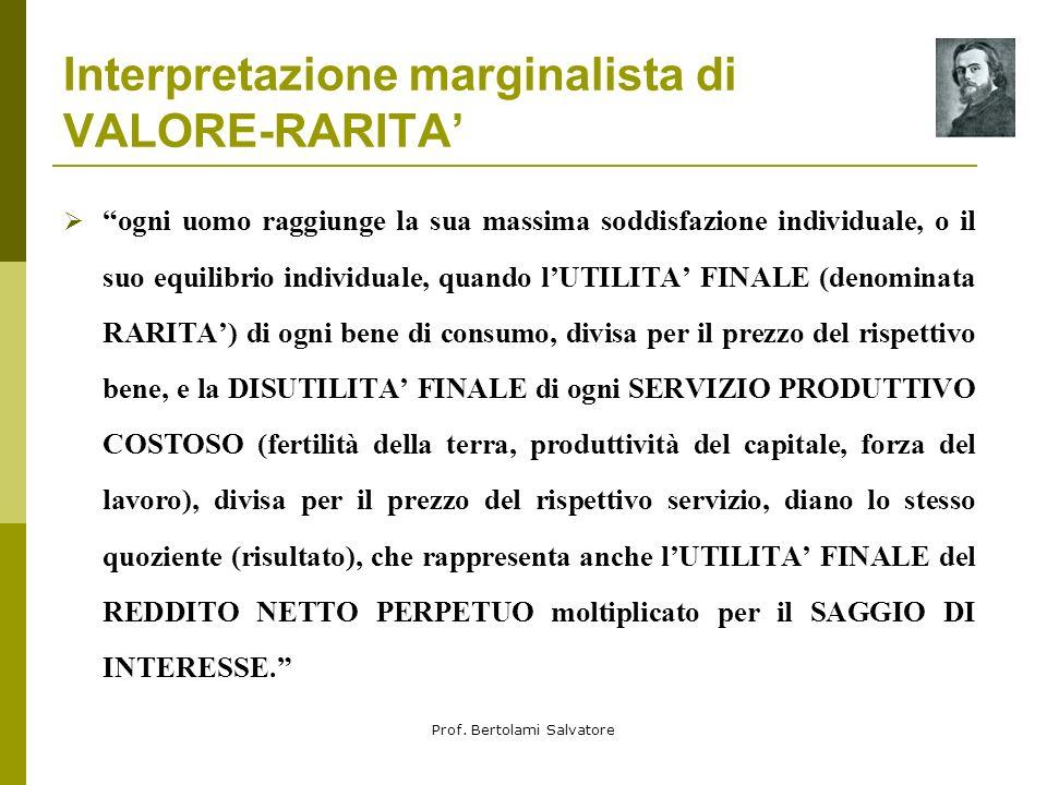 Interpretazione marginalista di VALORE-RARITA'