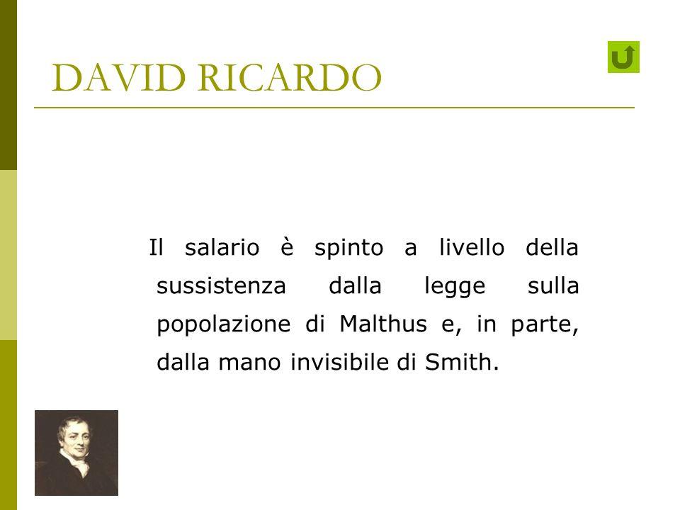 DAVID RICARDO Il salario è spinto a livello della sussistenza dalla legge sulla popolazione di Malthus e, in parte, dalla mano invisibile di Smith.