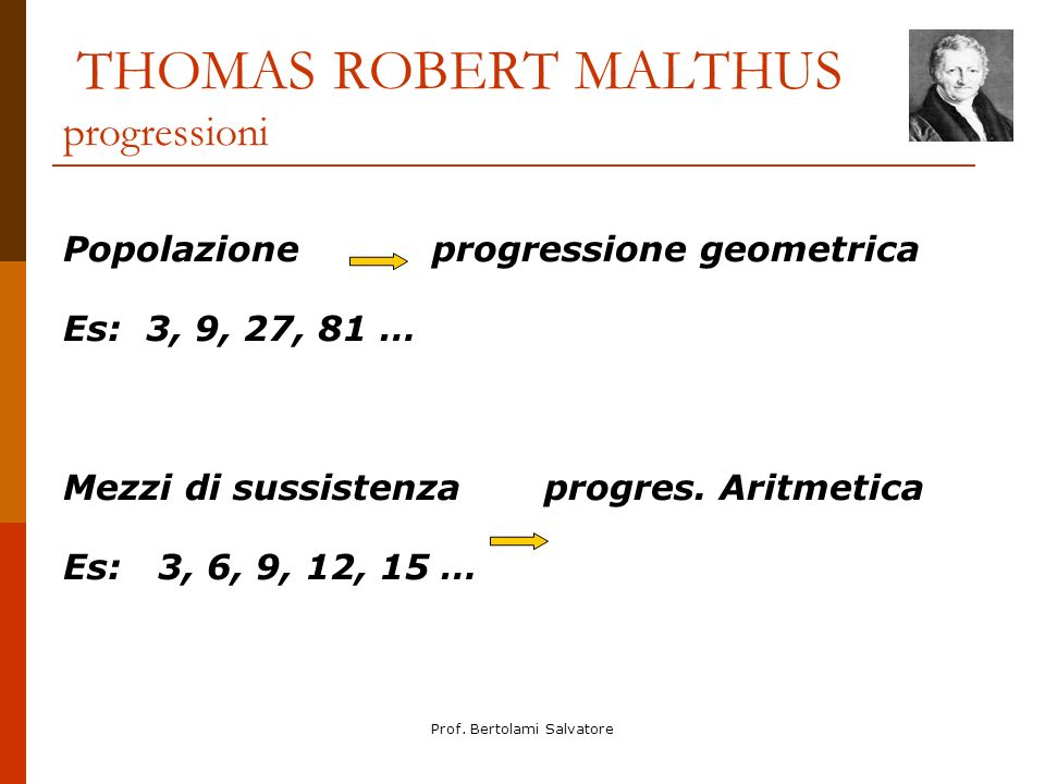 THOMAS ROBERT MALTHUS progressioni