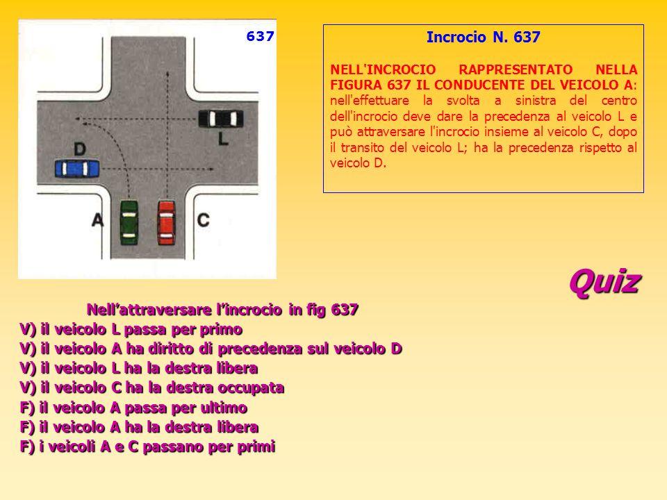 Quiz Incrocio N. 637 V) il veicolo L passa per primo