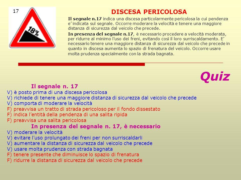 Quiz DISCESA PERICOLOSA 17 Il segnale n. 17