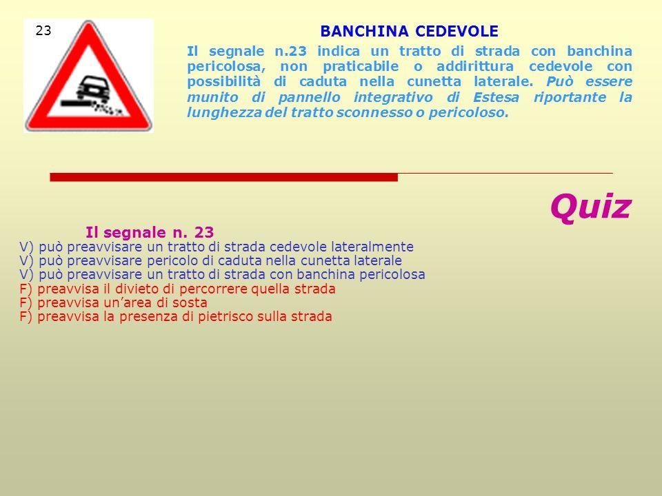 Quiz BANCHINA CEDEVOLE Il segnale n. 23 23