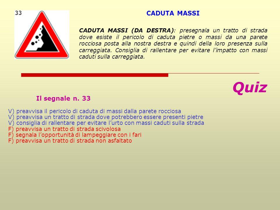 Quiz CADUTA MASSI Il segnale n. 33 33