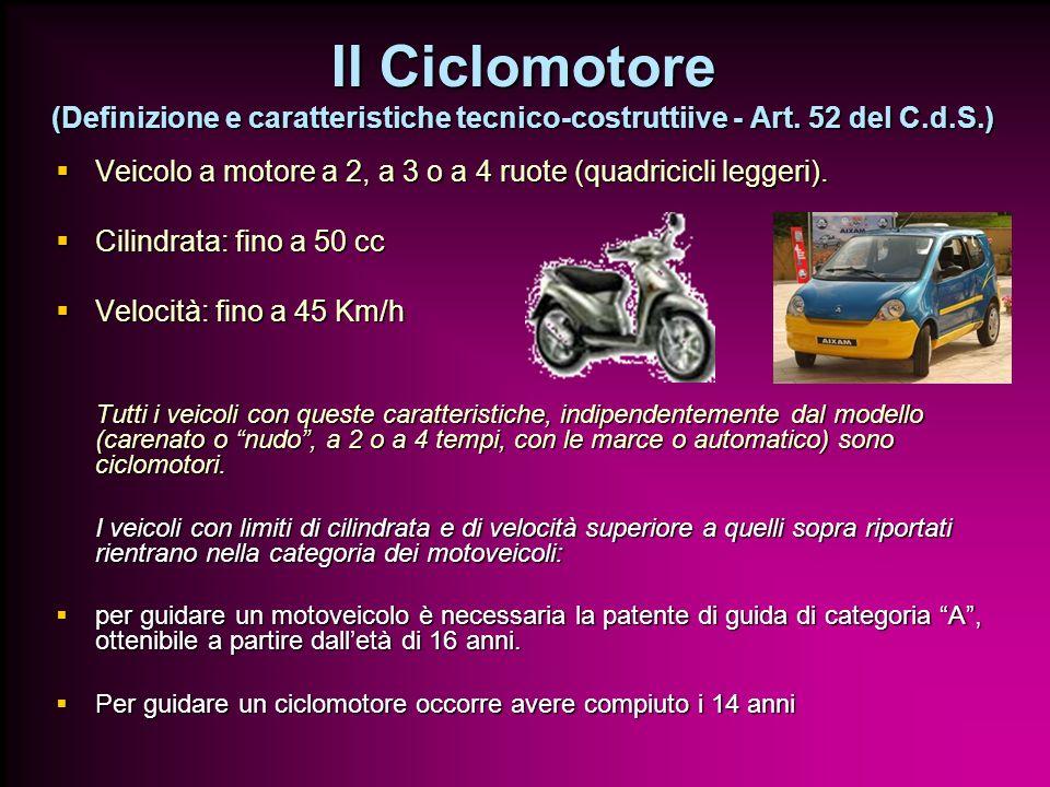 Il Ciclomotore (Definizione e caratteristiche tecnico-costruttiive - Art. 52 del C.d.S.)