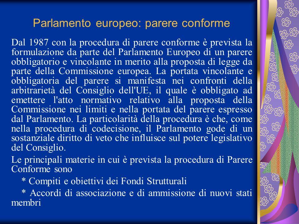 Parlamento europeo: parere conforme