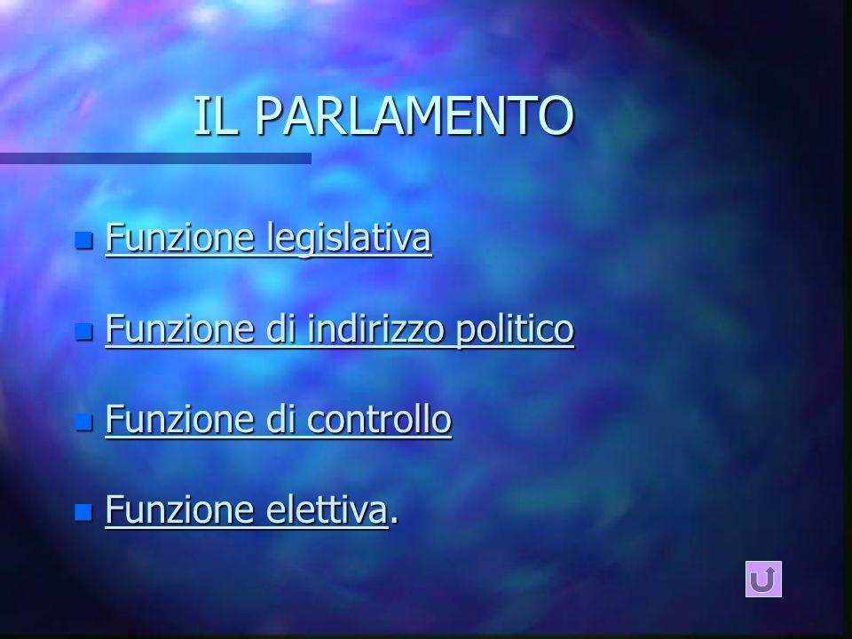 IL PARLAMENTO Funzione legislativa Funzione di indirizzo politico