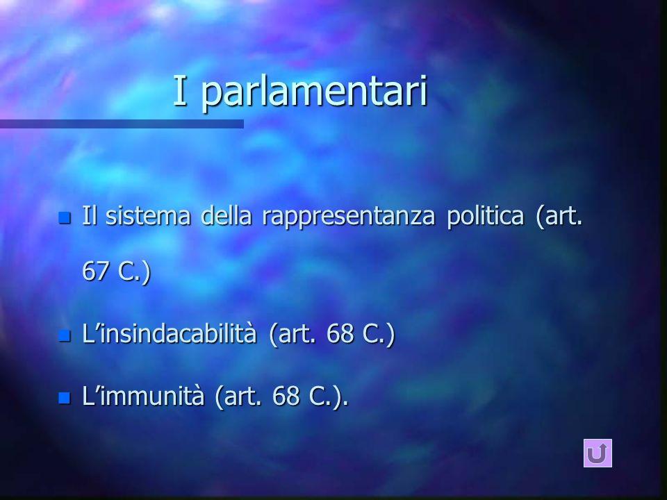 I parlamentari Il sistema della rappresentanza politica (art. 67 C.)